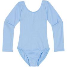Girls Quality Sky Blue Short Long Sleeve Sleeveless Cotton Lycra Leotard 3/11yr