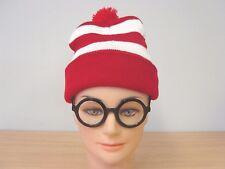 Red White Stripe Wanda Wally Beanie Hats & Glasses Fancy Dress