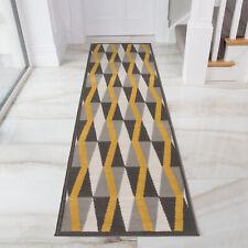 Yellow Mustard Grey Geometric Hallway Runners Ochre Triangles Hall Runners Rugs