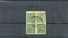 NEPALSc  9(MI 9Bb)VF USED BLOCK OF FOUR, TELEGRAPH CANCEL, $300