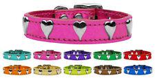 Heart Metallic Leather Dog Collar - Variety of Sizes