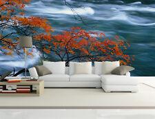 Papel Pintado Mural De Vellón Rojo Arce Árbol Rapids 1 Paisaje Fondo De Pantalla