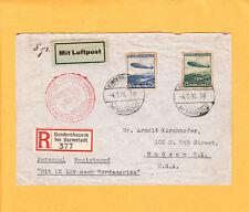 Nazi Germany Hindenburg Zeppelin Luftschiff Registered Gunderhausen To USA Z73