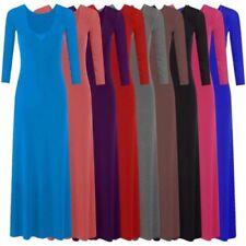NUOVO da donna manica lunga lungo vestito maxi in jersey 8-14