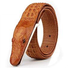 Men Crocodile Head Genuine Cow Leather Belt s Fashion Adjustable Strap Aligator