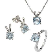 ZEEme Jewelry Set Anhänger Ring Ohrring poliert rhodiniert Blautopas Damen NEU