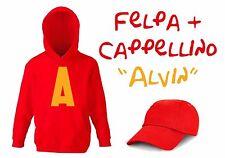 FELPA BAMBINO CON A GRANDE TIPO ALVIN CON NOME PERSONALIZZATO + CAPPELLINO ROSSO