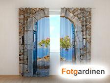 "Fotogardinen ""Gewölbe"" Vorhang 3D Fotodruck, Fotovorhang, Maßanfertigung"