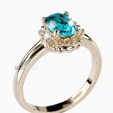 18K ROSE GOLD GP MADE WITH SWAROVSKI CRYSTAL WEDDING RING US 6 1/2 AU N BLUE