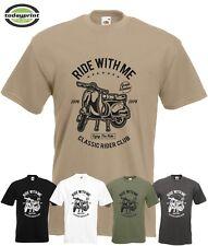 T Shirt SCOOTER RIDE WITH ME,  für Roller, V50, Vespa, Motorroller, Rally Fans