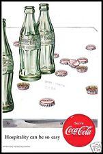 PUBBLICITA' 1952 COCA COLA BOTTIGLIA TAPPI AMERICA BOTTLE CAP STOPPER GLASS