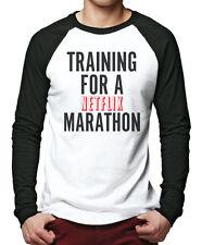 Training for a Netflix Marathon Tv Show Chill Men Baseball Top Many Sizes