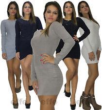 Vestito donna maglione Maxipull miniabito maxi maglia strass  6092