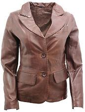 donne casual pelle marrone giacca blazer