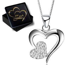 Halskette Herz Silber 925er Sterling mit Zirkonia Anhänger Frauen Damen Schmuck