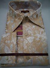 Mens Ecru Sand Metallic Floral High Collar Shirt SANGI MILAN COLLECTION # 2054