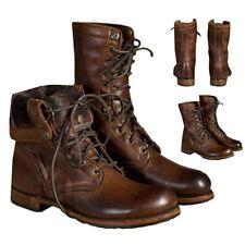 Mens Combat High-Top Boots Vintage Motorcycle Lace Up Punk Boots Cowboy Shoes