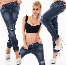 Damen Jeans Hose Baggy Boyfriend Chino Pailletten dunkelblau Big Size 38-48