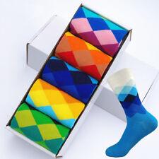 5 Pairs Mens Happy Socks Colorful Diamonds Casual Cotton Mens Sox Wedding Gift