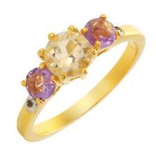 1.36ctw- Amethyst & Citrine Stone Ring-Sz8- 14K/925/Value $99.00