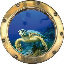 Sticker trompe l'oeil déco Tortue Plongeur réf:hublot H343