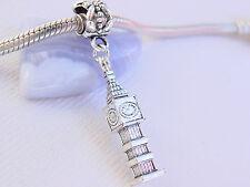 Cute 3D Silver Tone London Clock Tower Big Ben Dangle Charm fits Euro Bracelets