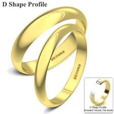 New 18ct Yellow Gold Solid Medium D Shaped UK Hallmarked Wedding Rings Band