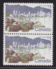 Canada Usc 600, 600ii MNH. 1972 $1 Pair w/ Short $ Flaw