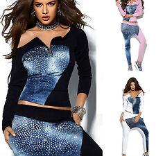 By Alina 2-Teiler Jeans Damenshirt Boyfriendhose Freizeitanzug Aladinhose XS-M
