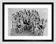 VINTAGE MISS AMERICA 1941 concorrenti NUOVO NERO Framed Art Print b12x11792