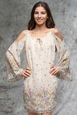 Long Sleeve Cold Shoulder Woven Short Dress