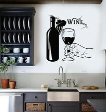Vinyl Wall Decal Wine Bottle Hand Glass Grapes Restaurant Alcohol Sticker ig5209