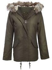 New Ladies Sequin Detail Khaki Camo Fur Hooded Winter Parka Jacket 8-16