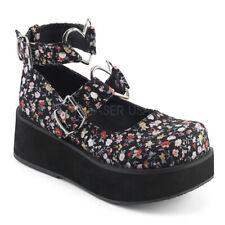 "Demonia 2.25"" Floral Flower Platform Dolly MJ Heart Buckle Strap Shoes 6-12"