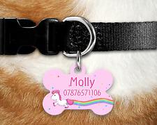 Personalised Pet ID Tag - ID Tag - Dog Tag - Bone Tag - Pink Unicorn Rainbow