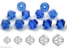Czech MC Glass Bicone Beads (Rondell/Diamond) Sapphire dark blue color crystals