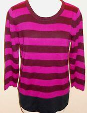 BANANA REPUBLIC Women's Pink & Burgundy Striped Sweater Size M