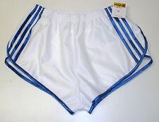 Nylon Glanz Satin SPRINTER Short Small - XXXXL 70s & 80s Retro White & Blue
