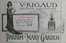 PUBLICITE ORIGINALE DE 1912 PARFUM RIGAUD MARY GARDEN COURTESY OF MISHKIN AD PUB
