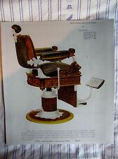 1908 KOCHS' Vintage Quarter-Sawed Oak/Mahogany Reclining Barber Chair Sign Ad