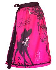 Designer Dirndl Schürze Bambi Pink, silbernes Reh, Strass Bambi, Paillettenborte