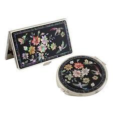 Set Miroir de Poche + Porte cartes de visite Nacre Collection fleur SAKURA