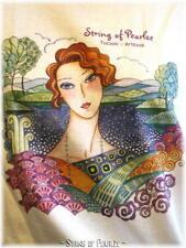 String of Pearlze Cotton Knit Tee Shirt Top Art Nouveau Lady Medium - Large - XL