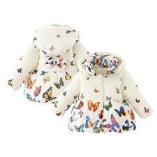 Newborn Infant Baby Girl Winter Warm Hooded Coat Kids Butterfly Jacket Outerwear