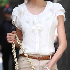 Hot New Women Chic slim OL Career Business blouse Top Shirt short sleeve 3 Color