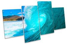 Caída De Onda Playa Surf Multi tela pared arte En Caja Enmarcado