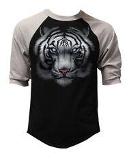 Men's White Tiger Black Baseball Raglan T Shirt Full Face Wildlife Graphic Tee