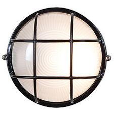 Black Cast Aluminum Fluorescent/LED 2 Light Exterior Round Wall Light