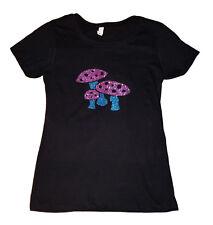 Mushroom T-shirt Black Womens Size Sm-XL Cotton/Poly New Shroom Trippy Fungi