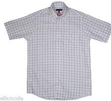 Kickers Blanco de hombre cuadros azules Camiseta manga corta NUEVO CON ETIQUETA
